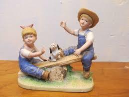 denim days figurine bringing home the tree w tag mint homco home