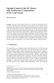 cover letter publication submission optimal control of the dc motors with feedforward compensation of