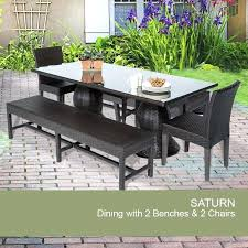 Patio Dining Set With Bench Small Outdoor Table And 2 Chairs Rectangular Outdoor Patio Dining
