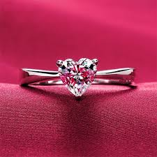 cheap heart rings images 1ct white gold 14karat heart style authentic synthetic diamonds jpg