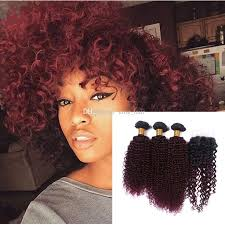black hair weave part in the middle wine red 1b 99j kinky curly hair bundles with lace closure middle