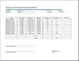 Excel Work Timesheet Template Employee Working Schedule Sheet Word Excel Templates