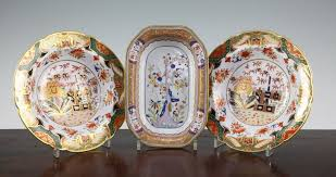 a spode china tree of pattern dish and two spode bone