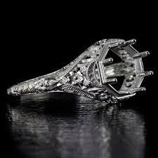 filigree engagement ring vintage filigree engagement ring 8mm 2ct setting antique 14k