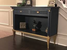 annie sloan chalk paint napoleonic blue and black wax accents