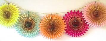 neon gold punch 5 fancy frill fans tissue garland