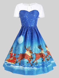 mesh panel christmas santa claus sleigh party dress in blue 2xl