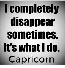 Capricorn Meme - completely disappear sometimes it s whatido capricorn capricorn