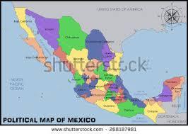 political map of mexico political map mexico names stock vector 439615813