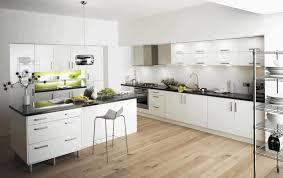 Light Brown Kitchen Simple Light Brown Wooden Flooring Sleek Black Granite Countertop