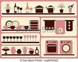 objets de cuisine maison set objets articles cuisine illustration