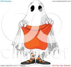 cartoon of a trick or treating halloween kid in a ghost costume