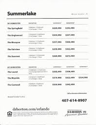 Dr Horton Destin Floor Plan Summerlake Dr Horton Homes Price List In Winter Garden Fl