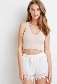 light pink tank top forever 21 lyst forever 21 crisscross back crop top in pink