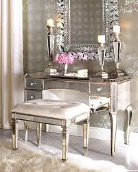 vanity table with lighted mirror and bench top makeup lighting for