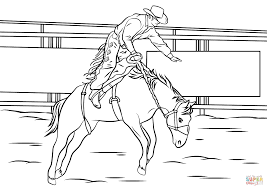 bronc riding rodeo coloring page free printable coloring pages