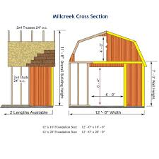 12 X 20 Barn Shed Plans Amazon Com Best Barns Millcreek 12 U0027 X 16 U0027 Wood Shed Kit Garden