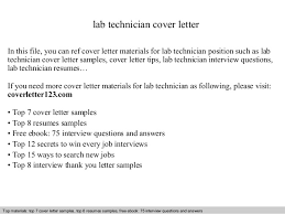 Sample Lab Technician Resume by Lab Technician Cover Letter