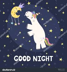 Good Night Card Cute Unicorn Moon Stock Vector Royalty Free