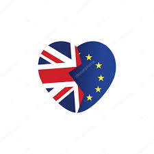 brexit icon british flag eu flag broken heart symbol of