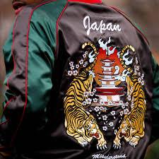 japanese tiger satin gucci color embroidery souvenir jacket entree