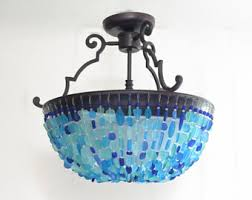 Teal Glass Chandelier Sea Glass Chandelier Lighting Beach Cottage Chic Coastal Decor