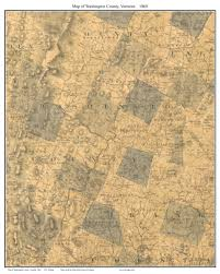 County Map Of Washington Vermont County Prints From The 1860 Walling State Map