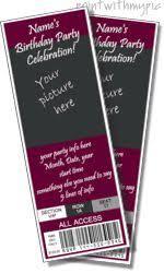 concert ticket invitations template free birthday ideas