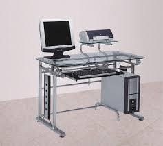 Glass Office Desk Felix Silver Chrome Metal With Clear Temp Glass Office Desk