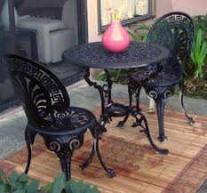 Outdoor Bistro Table Set Dining Room Simple Dark Wrought Iron Outdoor Bistro Set Table And