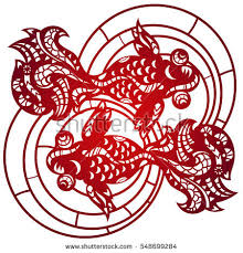 golden china pattern laser cut lace china golden fish stock vector 548699266