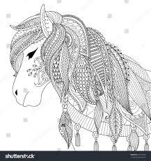 zendoodle design horse coloring book stock vector 494177650