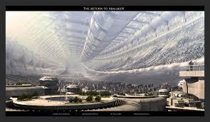 futuristic architecture buildings digital art stanford torus