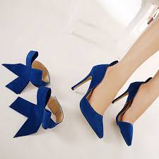 Cobalt Blue High Heels Women Fashion High Heel Suede Artificial Slip On Pointed Toe Thin