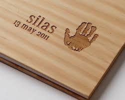 custom engraved baby book wood personalized print memory book