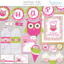 Owl Item by Owl Party Pink Printable Party Supplies Customized Pdf
