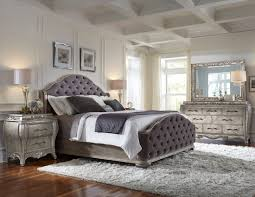 silver patina upholstered panel bedroom set