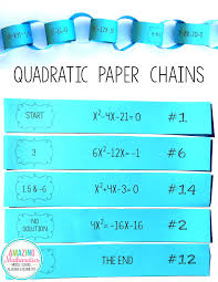 solving quadratic equations paper chain activity algebra