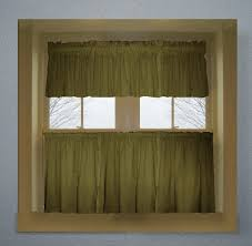 Green Valance Olive Green Color Tier Kitchen Curtain Two Panel Set