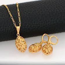 gold pendant necklace set images Unique design hollow out jewelry set women pendants necklaces jpg
