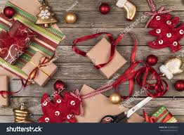 christmas ornaments gifts scissors wrapping paper stock photo