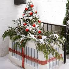 Christmas Porch Railing Decorations by Christmas Planter Ideas