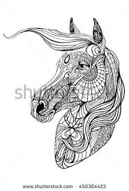 portrait horse coloring geometric figure spun stock vector