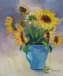 Vase Of Sunflowers Sunflowers In Blue Vase Painting By Suzanne Giuriati Cerny