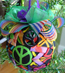 Quilted Christmas Ornaments To Make - retro peace sign tie dye quilted christmas ornament craft ideas