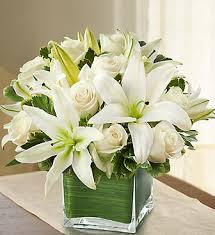 6 Inch Square Vase Illinois Florist Fabbrinis U0027 Flowers A White Rose Lily