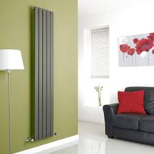 Designer Kitchen Radiators Alpha Anthracite Vertical Single Slim Panel Designer Radiator