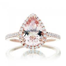 morganite pear engagement ring morganite ring peachy pink 10x7 halo cathedral setting