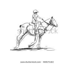 hand drawn sketch horse running race stock vector 630589931