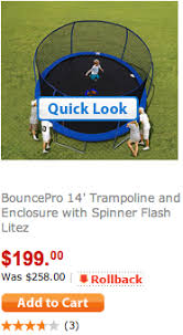 black friday trampoline 199 bouncepro 14 u2032 trampoline and enclosure with spinner flash litez